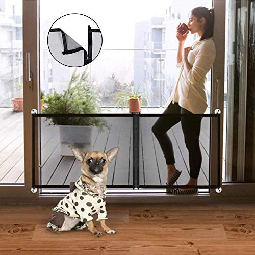 Puerta mágica para perros 3 en 1, puerta de protección para perros plegable para interiores y exteriores para superficies lisas, puerta de seguridad para bebés extra ancha y puerta para escaleras