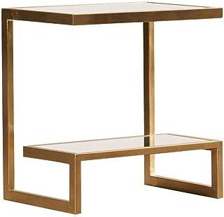 Spécial /Simple Table basse, tables Table d'appoint en verre et métal rectangulaire, table de chevet design double, chambr...