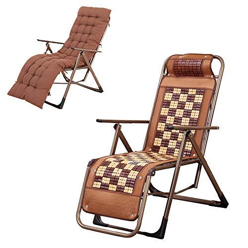 LVZAIXI campingstoel met U-vormig bamboe-hoofdkussen, versterkte driehoekige houder, max. belastbaarheid: 150 kg, 10 vijlen, instelling van 0-160 graden