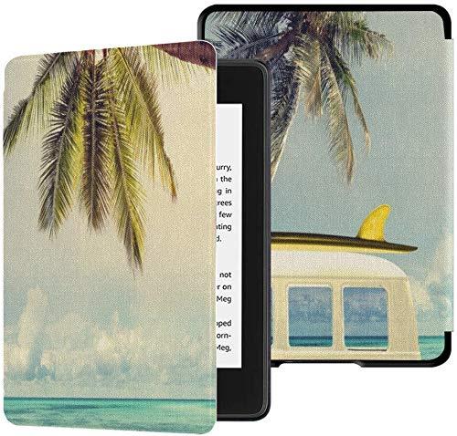 QIYI Kindle Paperwhite 4 Hülle für 10. Generation 2018 Veröffentlicht eBook Reader Covers Premium PU Lederhülle wasserdichte Kindle Slimshell mit Auto Wake/Sleep -Das Auto am Strand