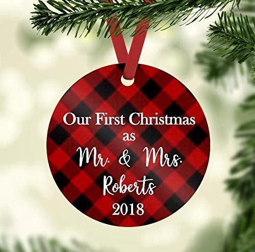 Teisyouhu Christmas Ornament Red Buffalo Plaid - Our First Christmas as Mr. and Mrs. 2018 - Personalized Rustic