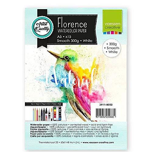Vaessen Creative 2911-8002 Florence Aquarellpapier A5 in Weiß, aus 300 g/m² Glattem Papier, 15 Blatt für Aquarellmalerei, Handlettering und Brush Lettering