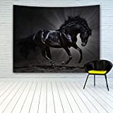 MINAKO Black Horse Tapestry Wall Hanging, Animal Theme Print Black Andalusian Stallion Gallops on Dark Background, Tapestries for Bedroom Living Room College Dorm Decoration Home Decor Wall Art