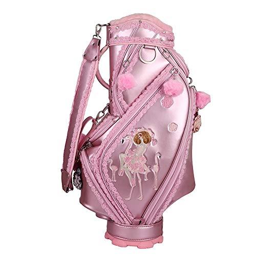Golf Trolley Tasche Rosa Damen Golfbag Stickerei Nette Golfwannenbeutel Erwachsenes Golfzubehör Sport Gemischten Golf Standbag Reiten für Männer Frauen ( Farbe : Rosa , Size : One size )