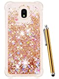 CAIYUNL Glitter Case Liquid Sparkle Bling Floating Flowing Clear TPU Protective Women Men Luxury Phone Case for Galaxy J3 Achieve / J3 2018 / J3 Star/Express Prime 3 / J3 Orbit/Amp Prime 3 -Gold