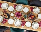 Geschirrset 24-teilig aus Porzellan für 6 Personen | Tiefe Suppenteller, Flache Essteller, Dessertteller und Schüsseln | Hochwertiges modernes buntes Vintage Tafelservice Kombiservice | Creme braun - 2