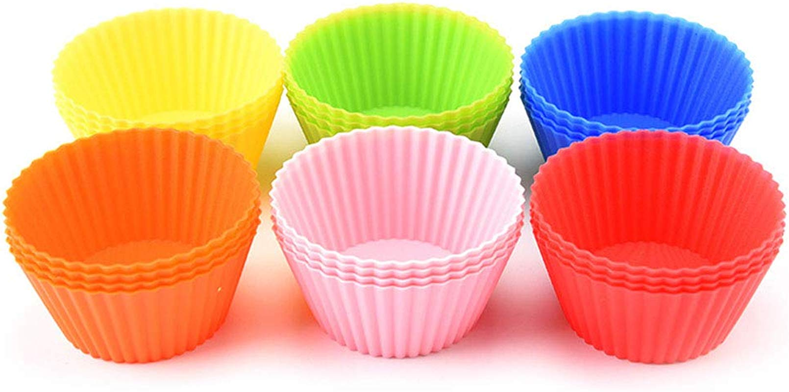 Reusable Silicone Cupcake Liners Baking Cups Mini Muffin Molds 6 Colors Pack Of 24
