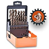 Lichamp 29PCS HSS Cobalt Drill Bits Set 1/16' to 1/2' with Three Flute for Hard Metal, Hardened Stainless Steel and Cast Iron