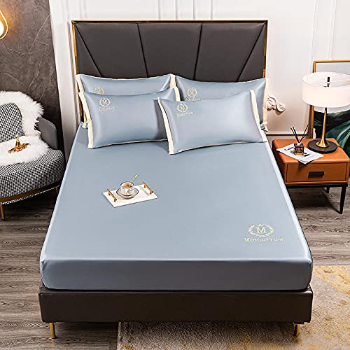 FJMLAY Sábana Bajera Ajustable Hojas de Ajuste Fresco de Seda de Hielo, Alfombrilla de protección Antideslizante para el apartamento del Dormitorio Hotel-Blue_120cmx200cm