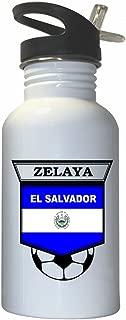 Custom Image Factory Rodolfo Zelaya (El Salvador) Soccer White Stainless Steel Water Bottle Straw Top