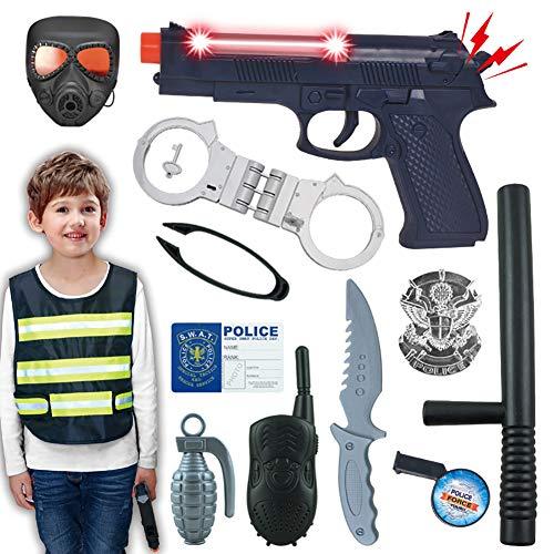 Disfraz Policia Nio, Juego De Equipamiento Policial para Nios, Esposas De Juguete Accesorios De Simulacin del Da del Nio