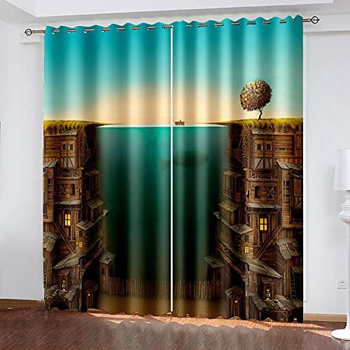 DRFQSK Cortinas Termicas Aislantes Frio Y Calor para Dormitorio Salon Modernas Cortinas Opacas 3D Arquitectura Marítima Creativa Patrón con Ojales 2 Piezas 140 X 260 Cm Decoración Ventana para Hogar