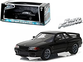 Greenlight New 1:43 Fast & Furious 7 - Black 1989 Nissan Skyline GT-R (R32) Diecast Model Car