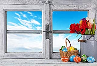 LFEEY 7x5ft Vinyl Backdrop Photography Background Happy Easter Painted Eggs Fresh Flowers Basket Peeled Wood Window Blue Sky White Cloud Nature Spring Photo Background Children Adult Potraits