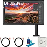 LG 32UN880-B 32 Inch Ultrafine Display Ergo 4K HDR10 Monitor Bundle with 2X 6FT Universal 4K HDMI 2.0 Cable, Universal Screen Cleaner and 6-Outlet Surge Adapter