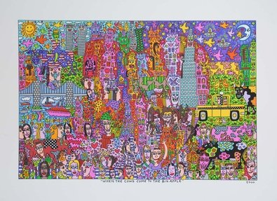 Germanposters James Rizzi When The Cow Come to The Big Apple Kunstdruck Probedruck Farblithographie 90 x 64.5 cm