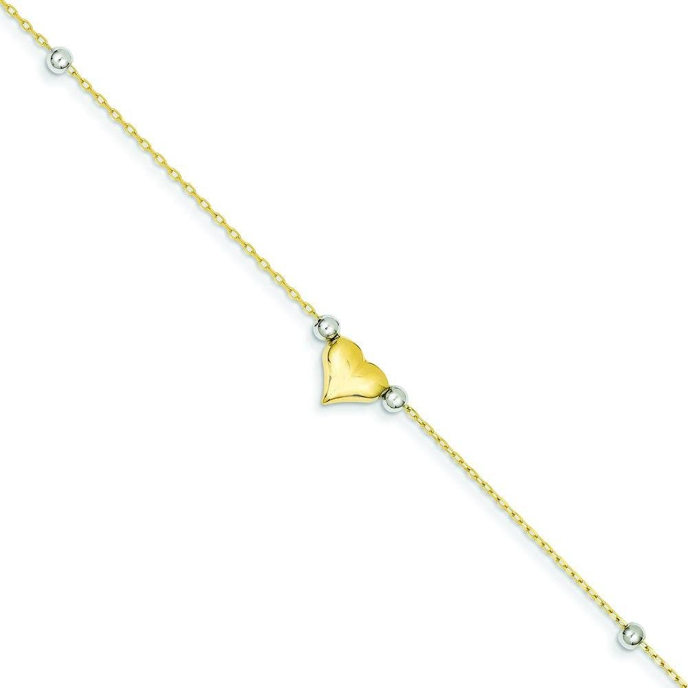 14K Gold Two Tone Polished Puffed Heart With Beads Anklet Chain Jewelry 10