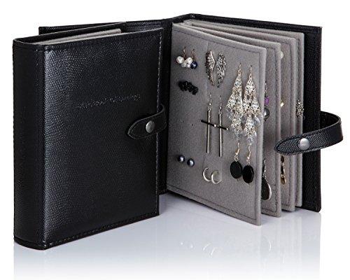 Little Book Of Earrings-Libro per orecchini, motivo: finta pelle di coccodrillo, colore: nero