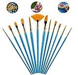 Yongbest Cepillos de Pintura de Nylon,12 Piezas Pinceles de Artista Juego de Pinceles para Cabello Material de Pinceles para Acrílico Acuarela Pintura al óleo