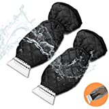 Fruholt 2 Packs Ice Scraper Mitt for Car Windshield Waterproof Snow Scraper Glove with Thick Fleece Lining for Car Window Snow Remover Scratch-Free
