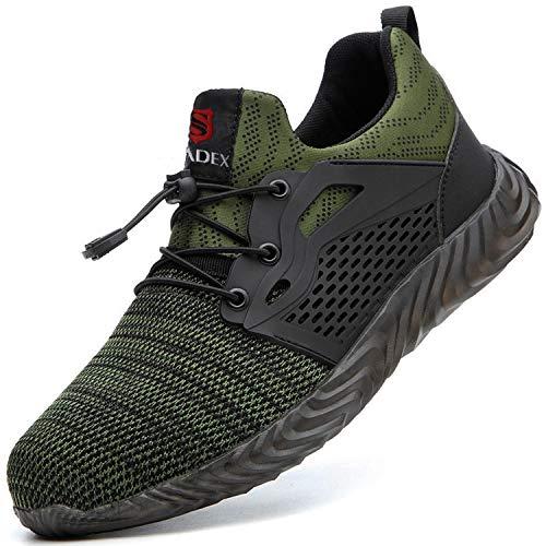 BAOLESEM Sicherheitsschuhe Herren Arbeitsschuhe Damen S3 Sportlich Leicht Atmungsaktiv Schutzschuhe Stahlkappe Schuhe, 03 Armee Grün, 46 EU