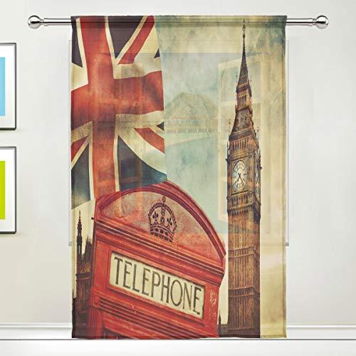 HMZXZ RXYY Voile Tüll-Fenstervorhang London Big Ben Union Jack Panel Vorhänge Küche Wohnzimmer Dekor...