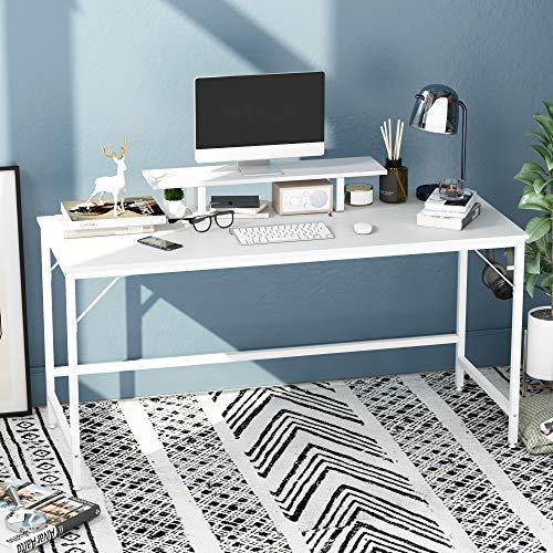 HOMEYFINE JOISCOPE Escritorio de Computadora, Mesa de Computadora Portátil con Almacenamiento para Controlador, 60 Pulgadas, Madera y Metal, Mesa de Estudio para Oficina en Casa (Acabado Blanco)