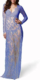 AUSZOSLT Maternity Sexy Deep V-Neck Long Sleeve Lace See-Through Maxi Dress for Beach