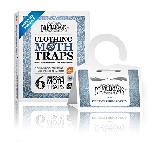 Dr. Killigan's Premium Clothing Moth Traps with Pheromones Prime | Non-Toxic Clothes Moth Trap with Lure for Closets & Carpet | Moth Treatment & Prevention | Case Making & Web Spinning (White)