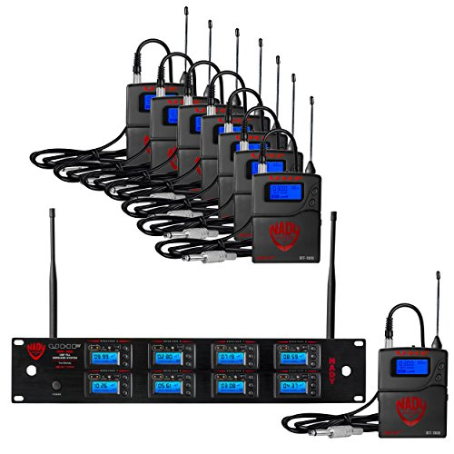 Nady 8W-1KU GT Octo True Diversity 1000-Channel Professional UHF Microphone Wireless System with 8 Guitar/Instrument Bodypacks – AutoScan – Automatic Transmitter Pairing – All Metal Construction
