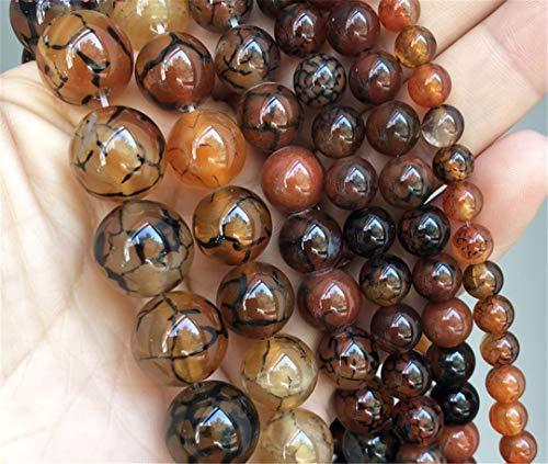 Cuentas de ágata de ónix crujiente de café, Cuentas espaciadoras Sueltas Redondas Naturales para Hacer Joyas, Pulseras DIY, Collares de 15 Pulgadas, 6/8/10/12/14 Mm 10mm (Approx 36pcs)