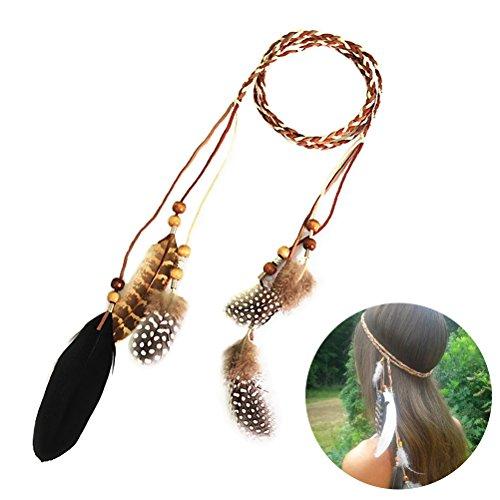Frcolor Haarband mit Federn indianisch Bohemian Haarschmuck