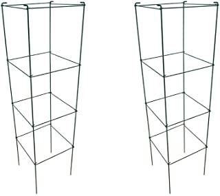 MTB Green Square Folding Tomato Cage Plant Support Stake Tower 12 inch by 46 inch, Pack of 2 Sets(Also Sold as Pack of 5 & 10,Galvanized is Available)