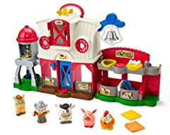 Classic Little People farm playset with lights, music, sounds, and Smart Stages learning content Press the Discovery Buttons to activate songs, sounds, phrases, barn light and fun actions Drop-through hayloft activates more fun music and sounds Plays...