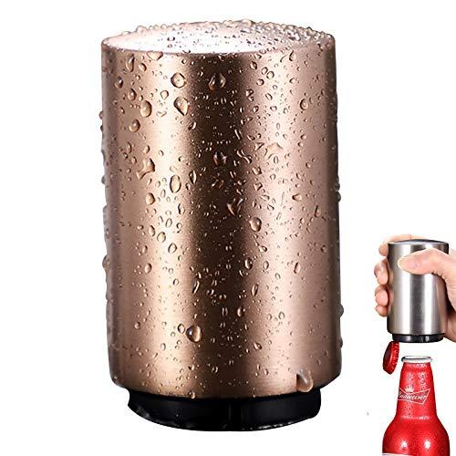 Abrebotellas Magnético,Abridor Automático de Botellas de Cerveza de Acero Inoxidable,Levantador de Tapa de Botella Push-Pull,Artilugios Divertidos para Barbacoa,Bar,Fiesta,Rose Gold
