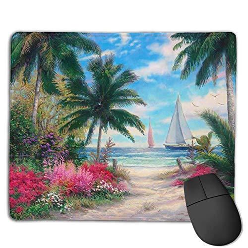 Alfombrilla de ratón para juegos, alfombrilla de ratón de pintura de arena tropical, personalización personalizada para juegos y oficina con borde cosido oficina más grueso alfombrilla de ratón
