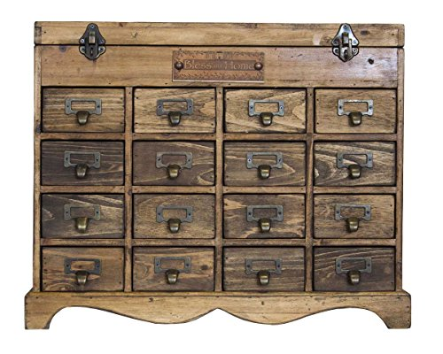 Keyhome - Cómoda de madera con 16 cajones estilo industrial - Altura 41 cm