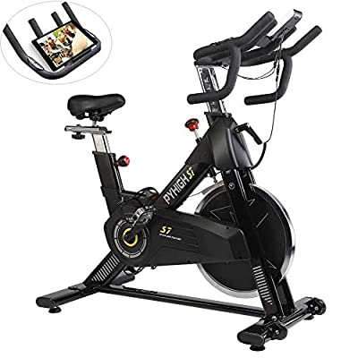 PYHIGHIndoor Cycling Bike-48lbs Flywheel Belt Drive Stationary Bicycle ExerciseBikes with LCD Monitor for Home Cardio Workout BikeTraining- Black (Black)