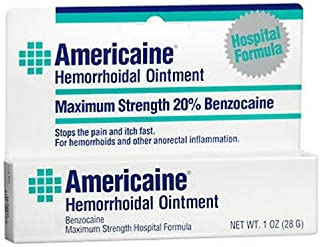 Americaine Hemorrhoidal Ointment Maximum Strength 20% Benzocaine 1 oz ( Pack of 2)