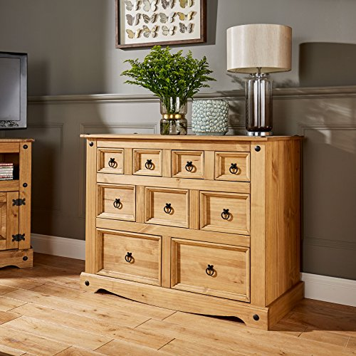 Home Source Corona Chest of Drawers Pine Sideboard 9 Drawer Merchant Cabinet Distressed Wax