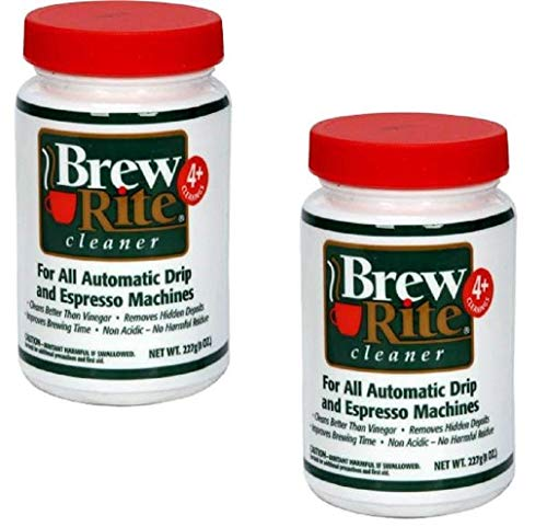Brew Rite Coffee Maker Cleaner for Home Coffee Machines and Espresso Equipment, 2 Pack (8 oz. each)
