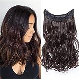 Elailite Extension Capelli con Filo Invisibile Ricci Lunghi 40cm Pesa 105g Fascia Uncia Wire in Hair Extensions Senza Clip - Marrone Scuro