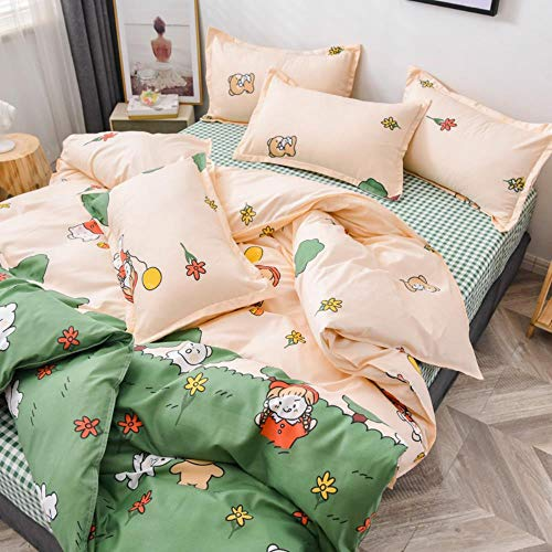 Miwaimao Aloe Brushed Cotton Quilt Single Or Double Dormitory Bed Linen Bedding,Grass Play,2.2m Bed