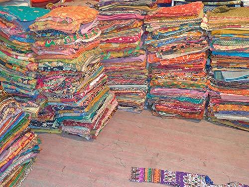 5piezas Mix Lot de Indian Tribal Kantha, Vintage algodón cama cubierta Manta sari antiguo hecho varios parches Made Rally toda venta manta