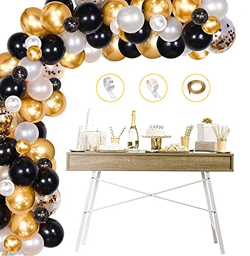specool Gold Black Balloon Arch Kit, Black White Gold Confetti Latex Balloons Arch Garland Pack for Men Women Birthday Party Anniversary Graduation Centerpiece Baby Shower Backdrop Decorations