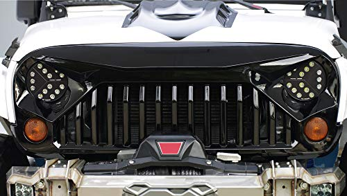 Topfire Upgraded Front Grill with Strip Gloss Black, Painted Clips and Rivets for Jeep Wrangler Rubicon Sahara Sport JK//JKU 2007-2018