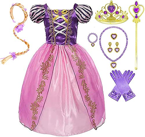 Girls Rapunzel Deluxe Princess Party Dress Costume (4-5, Style 5)