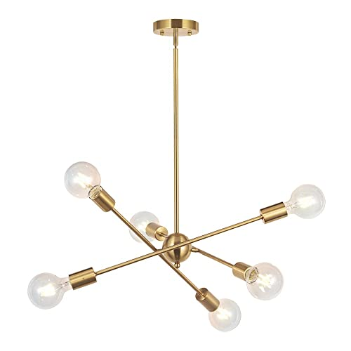BONLICHT Modern Sputnik Chandelier Lighting 6 Lights Brushed Brass chandelier Mid Century Pendant Lighting Gold Ceiling