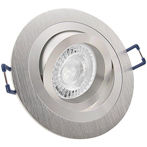 NOBLE 2 LED 3er Set 7,5W dimmbar 230V GU10 Decken Einbaustrahler rund Aluminium Warm-Weiß schwenkbar drehbar Einbauleuchte Einbauspot Downlight