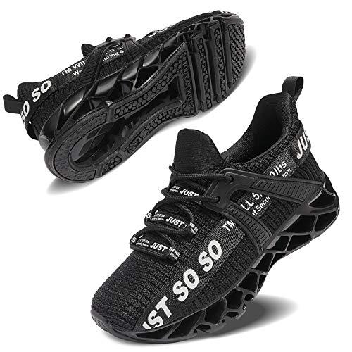 Vivay Unisex-Kinder Turnschuhe Sportschuhe Hallenschuhe Leicht Atmungsaktiv Laufschuhe Sneaker für Jungen Mädchen,1Schwarz,34 EU